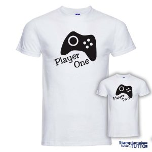"T-SHIRT COPPIA ""Player One-Player Two"""