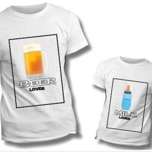 "T-SHIRT COPPIA ""Beer Lover-Milk Lover"""